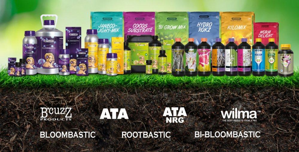 Atami hnojiva, doplňky, substráty pro pěstování bylinek v zemině, hydru, kokosu