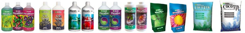 Základní tekutá a prášková hnojiva a substráty GHE.